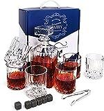 GAOXIAOMEI Whisky Stones Juego De Caja De Regalo De Vidrio De Whisky Que Incluye Decantador De Vidrio Artesanal Y Juego De Vasos De Whisky con Decantador, Vasos, Caja De Almacenamiento