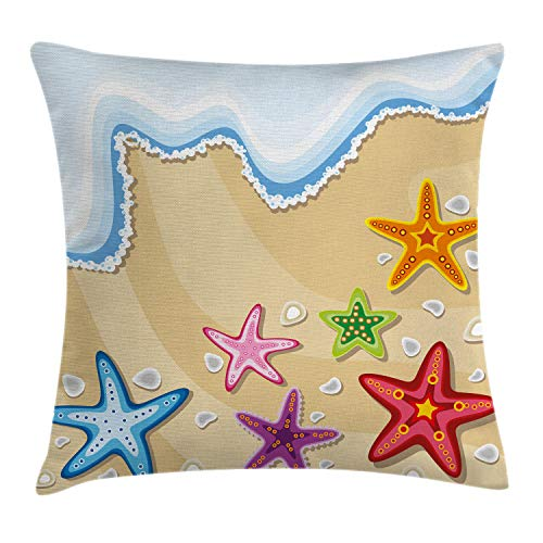 Ambesonne Ocean Throw Pillow Cushion Cover, Coastal Theme Colorful Sea Life Stars on The Sand Pattern Artwork Print, Decorative Square Accent Pillow Case, 24' X 24', Brown Blue