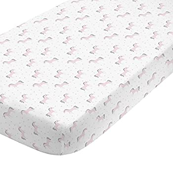 NoJo Unicorn 100% Cotton Sateen Fitted Crib Sheet White/Pink/Silver