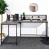 Homy Casa Escritorio esquinero en forma de L, 165 x 110 x 75 – 95 cm, estilo industrial, escritorio grande para videojuegos, nogal