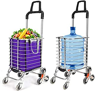 Besthls Shopping Cart Stair Climbing Cart, Folding Grocery Utility Cart with Rolling Swivel Wheels and Updated Lengthen Handle for Groceries,177 Pounds Capacity