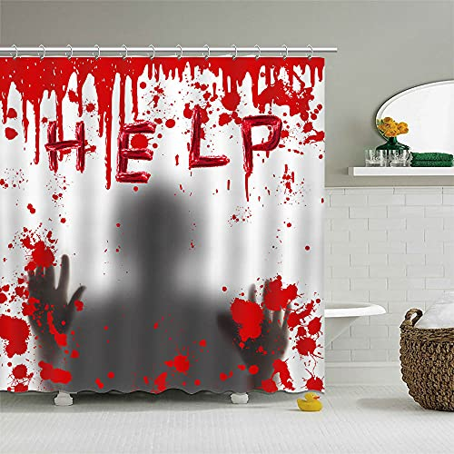 Mocsicka 72×72 Inch Halloween Shower Curtain Set Horrible Scary Bloody Figure Help Me Shower Curtain Psycho Home…
