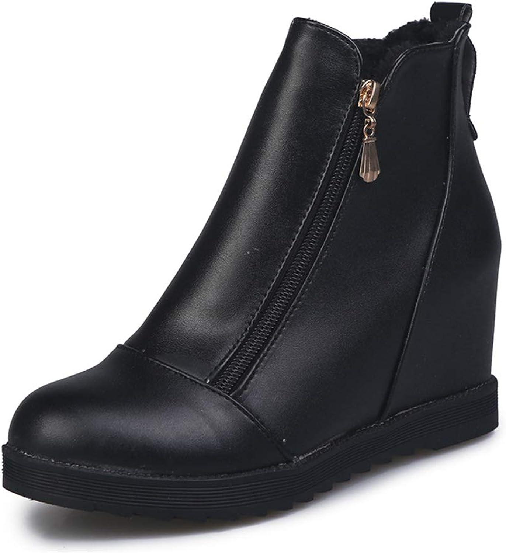 YUBUKE Women's Side Zip Stacked Block Heel Ankle Booties Western Boots