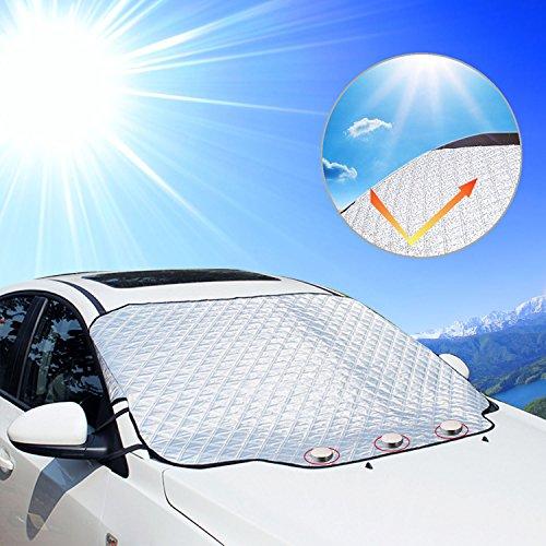 KOROSTRO Frontscheibe Abdeckung, Sonnenschutz Auto Scheibenabdeckung windschutzscheibe Magnet Faltbare Abnehmbare Auto Abdeckungzum Schutz vor UV-Strahlung, Staub, Dreck, Frost, und Schnee für Sommer
