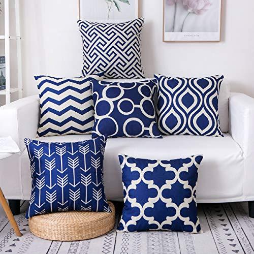 Famibay - Juego de 6 fundas de almohada decorativas de arpillera de 45,72 x 45,72 cm, diseño geométrico moderno de doble cara, fundas de cojín decorativas para sala de estar,...