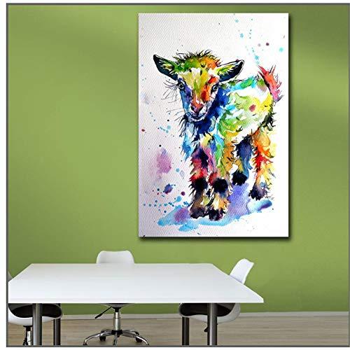 Impresión de moda Pintura Arte de tinta Arte lindo de la pared de la cabra del bebé Impresión de la lona Imágenes para la sala de estar y el dormitorio / 50X70Cm-Sin marco