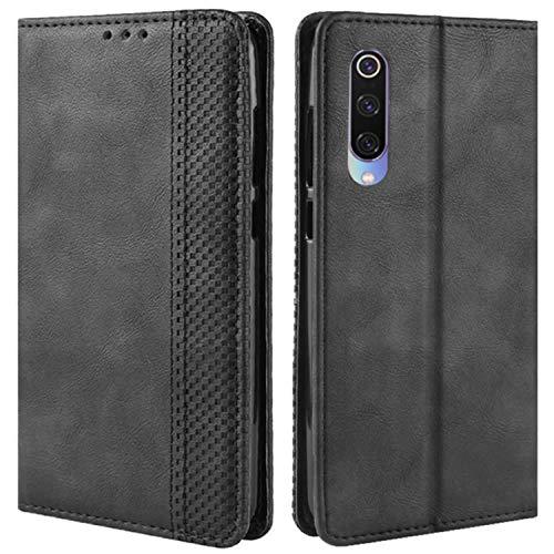 HualuBro Handyhülle für Xiaomi Mi 9 SE Hülle, Retro Leder Brieftasche Tasche Schutzhülle Handytasche LederHülle Flip Hülle Cover für Xiaomi Mi 9 SE 2019 - Schwarz