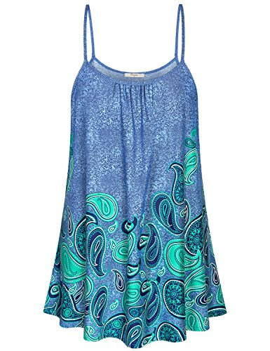Cestyle Sleeveless Tunic Tops for Leggings for Women,Ladies Elegant Floral Flare Hem Spaghetti Strap Tank Dresses to wear with Leggings Spring Vacation Ombre Patterned Cami Shirts Emerald Green L