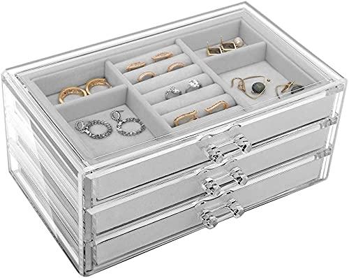 JSY Caja Joyero Caja de joyas para mujeres con 3 cajones Caja de acrílico de acrílico Caja de almacenamiento Velvet Jewellery Organizer para pendiente Brazalete Pulsera Collar y anillos Jewelry Organi