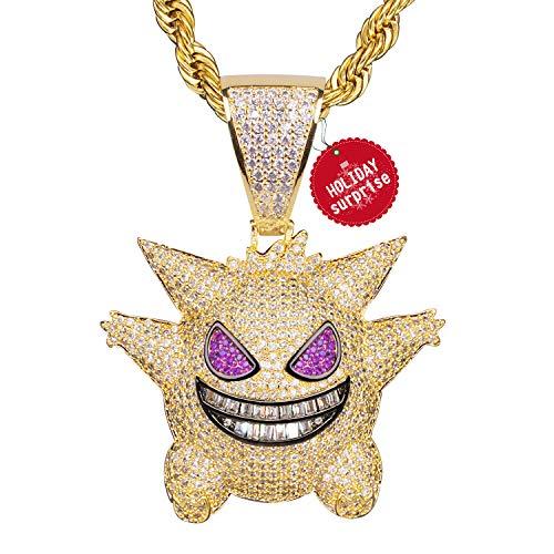 Gengar Collar con Cadena Regalos Colgante de Diamantes Pokémon Baño de Oro Tipico Colgante de Killy Hielo Fuera Medallón de Hip Hop Cadena de Cuerda de 24 Pulgada + Caja Clásico + Paño de Microfibra