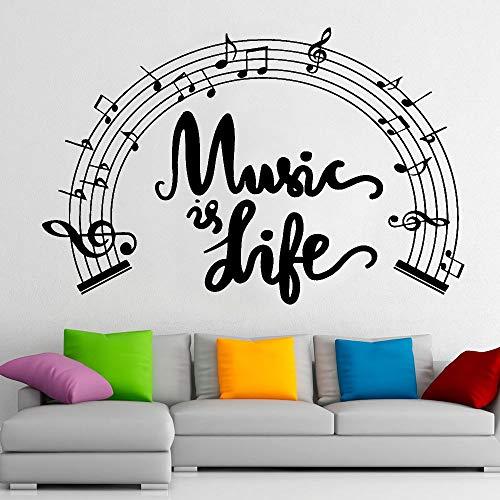 Partitura de pared calcomanía música es vida puertas y ventanas pegatinas de vinilo notas musicales estudio escolar dormitorio decoración de interiores arte