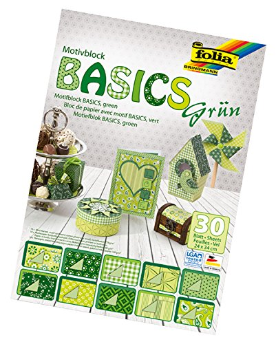 folia 46549 - Motivblock Basics grün sortiert, 24 x 34 cm, 30 Blatt, 10 x Motivkarton, 10 x Motivpapier, 10 x Tonpapier, für vielfältige Bastelarbeiten