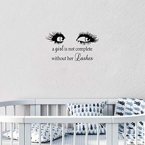 sticker porte enfant Beauty Salon Eyebrows Quote Eye Eyelashes Perfect Girl Bedroom Lashes Extensions Brows