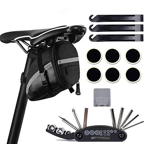 Atuful Fahrrad Multitool, 16 in 1 Werkzeuge für Fahrrad Reparatur Set Fahrrad Multifunktionswerkzeug Handy Tasche Tool Multifunktions,Selbstklebendes Fahrradflicken usw