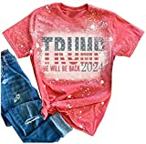 Trump 2024 Donald Trump Shirts He Will Be Back 2024 T Shirts for Women American Flag Distressed Bleached Tee Tops Blouse (Red, Large, l)