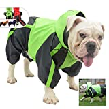 Lovelonglong American Bully Pitbull Dog Hooded Raincoat, Bulldog Rain Jacket Poncho Waterproof Clothes with Hood Breathable 4 Feet Four Legs Rain Coats for Pugs English French Bulldog Green B-M