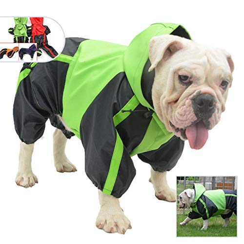 Lovelonglong American Bully Pitbull Dog Hooded Raincoat, Bulldog Rain Jacket Poncho Waterproof Clothes with Hood Breathable 4 Feet Four Legs Rain Coats for Pugs English French Bulldog Green B-XL
