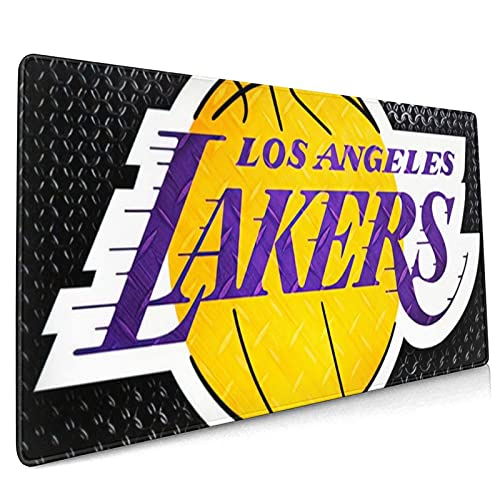 WEIQIQQ Lakers_Basketball Sports_Los_Angeles XXXL Large Gaming Mouse Pad for Desk, Waterproof Office Mousepads Non-Slip Rubber Base with Stitched Edges for Home Games, Laptop Mat 18.5x35.5 Inch