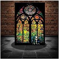 バンクシーステンドグラスウィンドウ教会キャンバス絵画モデラープリントとポスターリビングルームの家の装飾のためのクアドロス壁アート写真