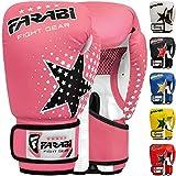 Gants de boxe pour enfants Farabi 6 oz, gants d'entraînement de kickboxing muay thai MMA, meilleurs gants pour l'entraînement sur sac de boxe, tampons de mise au point pratique (Pink, 6-oz)