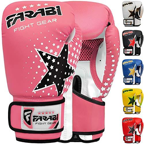 Farabi Kinder Boxhandschuhe 6-Unzen, Kickboxen Muay Thai Training MMA Sparring Handschuhe, Beste Handschuhe für das Training auf Boxsack, Fokus Pads Übung (Pink, 6-oz)