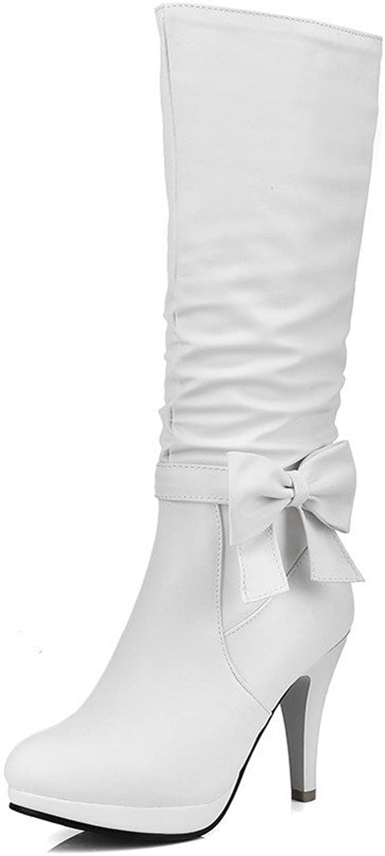 AllhqFashion Women's Zipper Round Closed Toe Spikes Stilettos Mid Top Boots