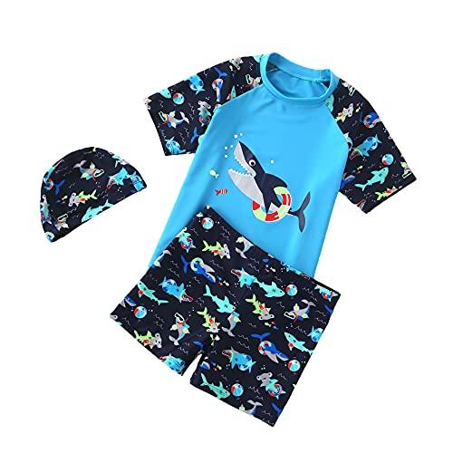 Kinder Junge Badeanzug Bademode Zweiteiliger Kurzarm UV-Schutz Bade-Set T-Shirt Badeshorts mit Badekappe (Blau2, 134-140CM)