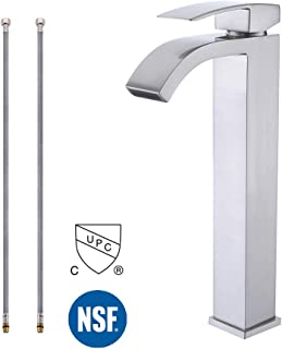 KES cUPC NSF Certified Brass Lead-Free Brass Bathroom Sink Faucet Single Handle Waterfall Spout for Vessel Bowl Sink Faucet Countertop Tall Brushed Nickel, L3109BLF-2
