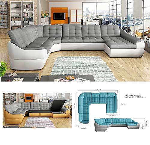 Sofá tamaño XL para 6 personas, tamaño extra grande, de piel sintética y tela, en esquina, hacia la derecha, de Infinity