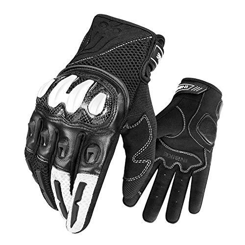 INBIKE Motorradhandschuhe Herren Motorcross Handschuhe Leder Atmungsaktiv Sommer Winter Downhill Handschuhe für Motorrad Fahrrad Rennrad Weiß M