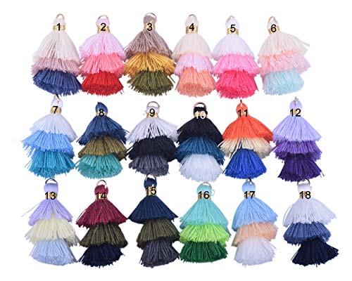 KONMAY 50pcs Bulk 1.4''(3.5cm) Tiny Tri-Layered Tassels with Gold Jump Ring for Jewelry Making, Clothing