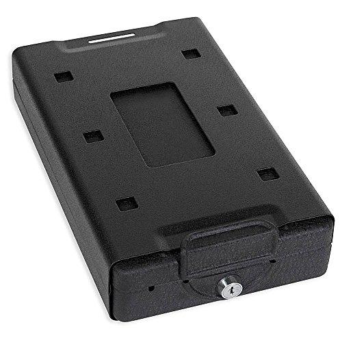 Bulldog Cases Caja Fuerte para Coche con Cerradura de Llave, Soporte de Montaje y Cable, Color Negro