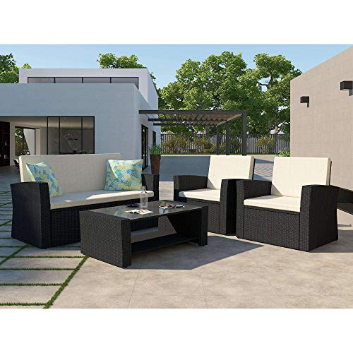 HEYNEMO Patio Conversation Sets 5-Piece Black PE Wicker Furniture Chair Sets with Glass Table, All Weather Outdoor Rattan Wicker Cushioned Sectional Sofa Chairs with Coffee Cushions