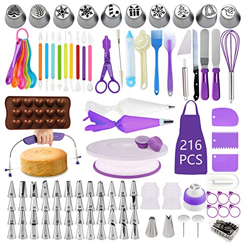 BoYun Cake Decorating Supplies Kit, Set of 216, Baking Pastry Tools, Cake Turntable, Cake Leveler, Numbered Icing Tips with Pattern Chart, Angled Spatula, 10 Christmas Piping nozzles-Baking Tools