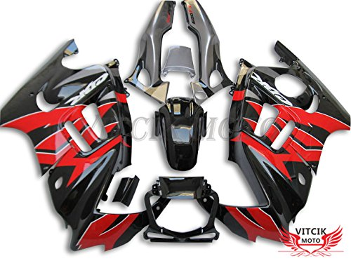 VITCIK (Fairing Kits Fit for Honda CBR600F3 CBR600F 1997 1998 CBR 600 F3 97 98) Plastic ABS Injection Mold Complete Motorcycle Body Aftermarket Bodywork Frame (Black & Red) A036