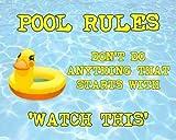JuYiCk Rusty Swimming Pool Rules - Placa de metal para pared (8 x 30 cm)...