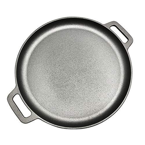 GYJWSBAW 30cm/33cm/35cm Gietijzeren Steak Pan Rond Ongecoate Frying Pot Pizza Pannenkoek raadsels Flate Bottom BBQ Roasting Pan Vlees Roaster
