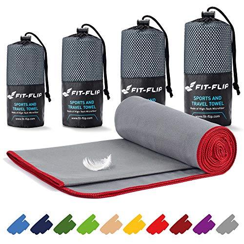 Fit-Flip Mikrofaser Handtuch Set – in Allen Größen / 16 Farben – Microfaser Handtücher – das perfekte Sporthandtuch, Strandhandtuch und Reisehandtuch (Set2: 80x160cm + 40x80cm, Grau mit Roten Rand)