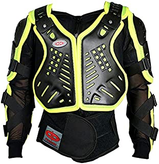 Perrini Green CE Approved Full Body Armor Motorcycle Jacket Night Visibility (XXL)