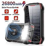 Chargeur Solaire 26800mAh Batterie Externe Portable QI Power Bank sans Fil avec 4 Ports 3.1A USB&1 Type C Haute Vitesse, Lampe 18 LED(SOS Mode) et Crochet pour iPhone Smartphone