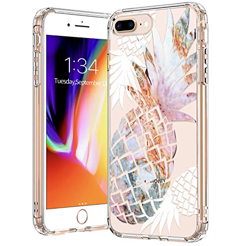 BICOL iPhone 8 Plus Case,iPhone iPhone 7 Plus Case,Marble Pineapples Pattern Clear Design Transparent Plastic Hard Back Case with TPU Bumper Protective Case Cover for Apple iPhone 8 Plus/7 Plus