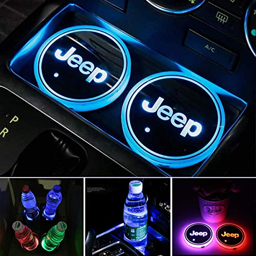 2pcs LED Car Cup Holder Lights for Jeep, FBA Fast Delivery,Car Logo Coaster with 7 Colors Changing USB Charging Mat, Luminescent Cup Pad Interior Atmosphere Lamp Decoration Light