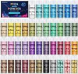 MOSUO Epoxidharz Farbe Mica Pulver, 5g*40 Farben Seifenfarbe Set Pigmente Pulver, Metallic Farben...