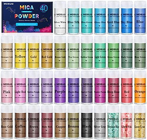MOSUO Pigments Poudre de Mica, 5g*40 Couleurs Colorant de Savon, Pigment Resine Epoxy Pailletées Naturel Minerale pour Bougies, savons, Boules de Bain, cosmetiques, Vernis à Ongles et Peinture