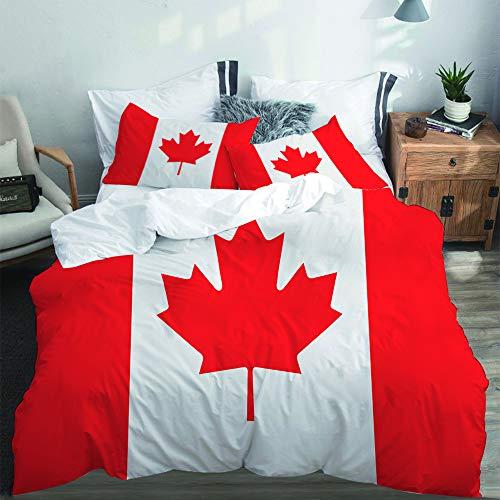 PANILUR Bedding Juego,Bandera de Canadá con transición de colorFunda de Nórdico Fundas de Almohada 140x200cm +2(50x80cm)