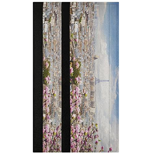 Oarencol Juego de 2 fundas para manija de puerta de la Torre Eiffel de París con diseño de flor rosa para nevera, horno, lavavajillas