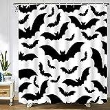 Abaysto Gruseliges Halloween-Muster mit Fledermäusern, schwarz & weiß, alle Tierfarben, Badezimmer-Dekor, Duschvorhang-Sets mit Haken, Polyester-Stoff, tolles Geschenk