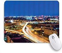VAMIX マウスパッド 個性的 おしゃれ 柔軟 かわいい ゴム製裏面 ゲーミングマウスパッド PC ノートパソコン オフィス用 デスクマット 滑り止め 耐久性が良い おもしろいパターン (都市の景観の高層ビルダウンタウンピッツバーグアメリカアメリカの夜のスカイラインビジネスタウン風景)