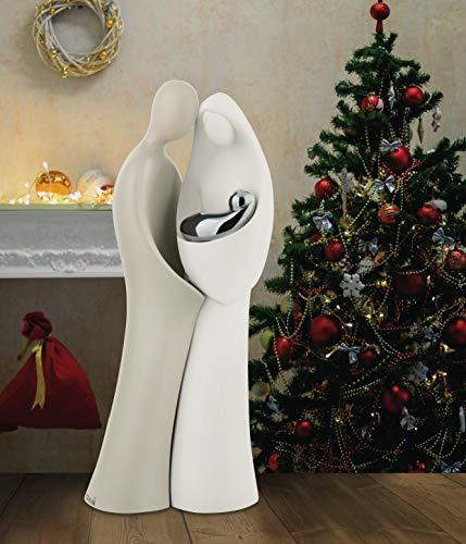 MAZZOLA LUCE Piccolo PRESEPE da Tavolo Moderno STATUINA STILIZZATA Design Particolare Bianco Nocciola Idea Regalo Natale