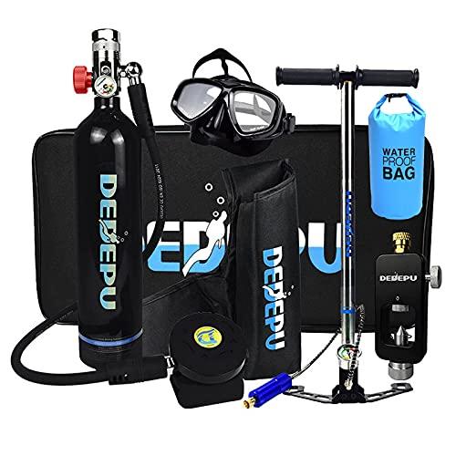 Mini Bombola da Sub kit snorkeling Con Borsa Impermeabile, Bombola da Ossigeno Portatile da 1L Bombola di Ossigeno Respiratore Subacqueo Bombola da Sub Bombola per Snorkeling Con pompa a man,Nero
